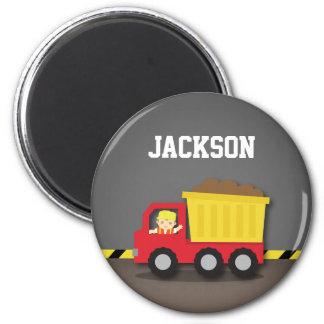 Red Dump Truck Construction Builder Boy Magnet