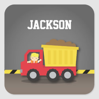 Red Dump Truck Construction Builder Boy Square Sticker