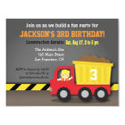 Red Dump Truck Construction Theme Birthday Party Card