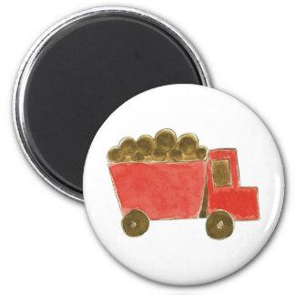 Red Dump Truck 6 Cm Round Magnet