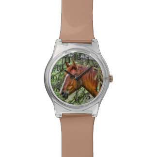 Red Dun Horse and Forest Animal-lover Photo Wrist Watches
