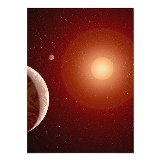 Red Dwarf Star and Exoplanets 14 Cm X 19 Cm Invitation Card