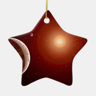 Red Dwarf Star and Exoplanets Christmas Ornament