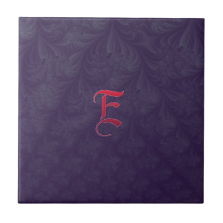 Red 'E' on purple embossed effect 3D fractal. Small Square Tile