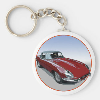 Red E Type Roadster Basic Round Button Key Ring