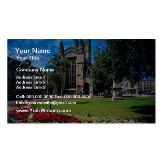 Red East front, Bath Abbey, Avon, England flowers Business Card