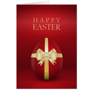 Red Easter Egg With Golden Bow greeting card