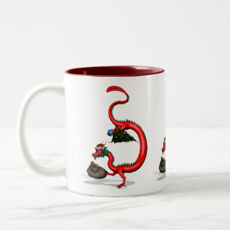 Red Eastern Dragon Two-Tone Mug