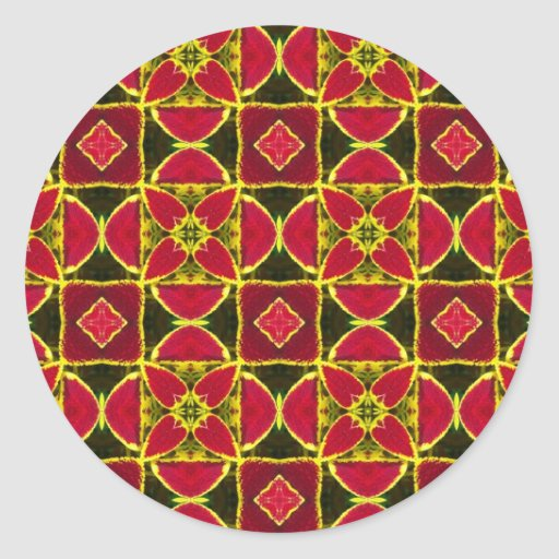 red eastern folklore fabric pattern round stickers