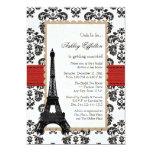 Red Eiffel Tower Parisian Bridal Shower 13 Cm X 18 Cm Invitation Card