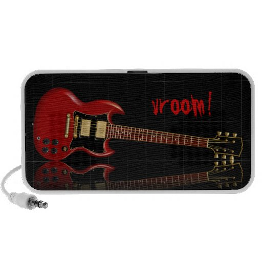 Red Electric Gibson SG Guitar Travel Speakers