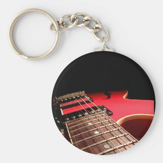 Red Electric Guitar Basic Round Button Key Ring