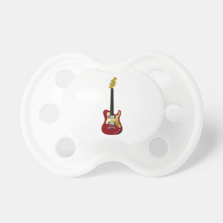 Red electric guitar yellow fizzle headstock baby pacifier