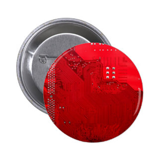 red electronic circuit motherboard pattern texture 6 cm round badge