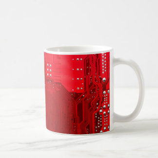 red electronic circuit motherboard pattern texture coffee mug