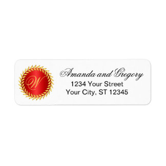 Red Elegance Monogram Return Address Label