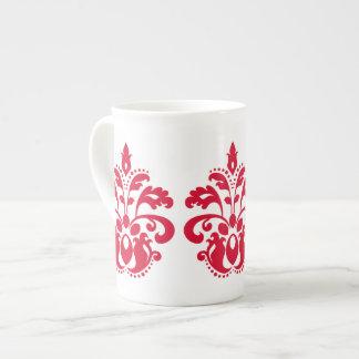 Red elegance victorian damask porcelain mugs