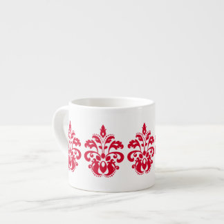 Red elegance victorian damask espresso cups