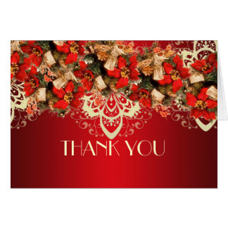 Red Elegant Christmas Wishes Thank you Greeting Card