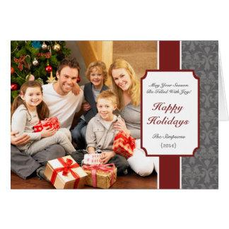 Red Elegant Damask Folded Christmas Greeting Card