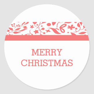Red Elegant Foliage Holiday Classic Round Sticker