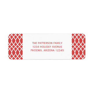 Red Elegant Lattice Holiday Address Labels