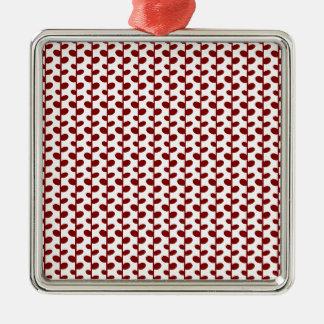 Red Elegant Modern Chic Leaf Pattern Christmas Tree Ornament