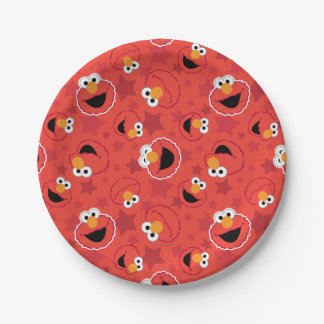 Red Elmo Faces Pattern Paper Plate