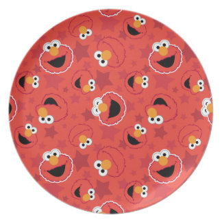 Red Elmo Faces Pattern Plate