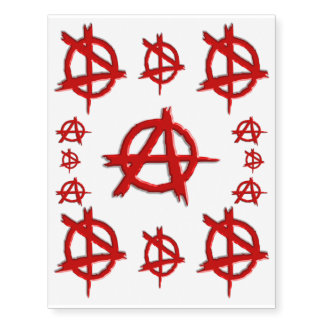 Red Emboss-look Anarchy Logo, Show you dont care!
