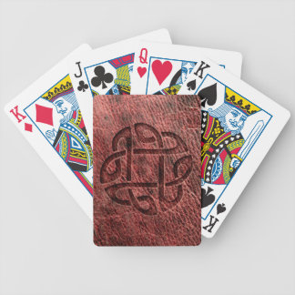 Red embossed celtic knot on genuine leather bicycle playing cards
