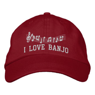 Red Embroidered I Love Banjo Hat Embroidered Baseball Cap