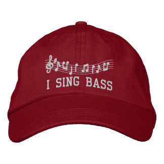 Red Embroidered I Sing Bass Music Hat