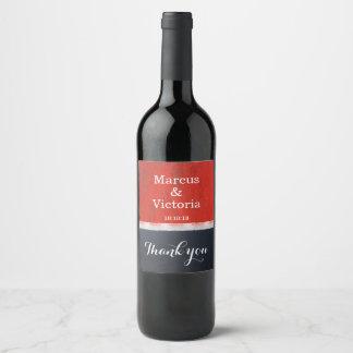 Red Enamel Paint Modern Wedding Thank You Wine Label