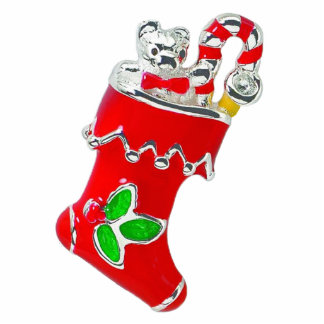 Red Enameled Christmas Stocking Magnet Photo Sculpture Magnet