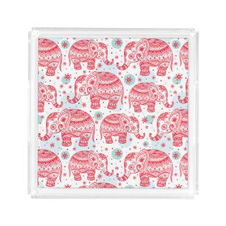Red Ethnic Elephant Pattern Acrylic Tray