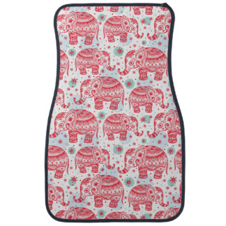Red Ethnic Elephant Pattern Car Mat