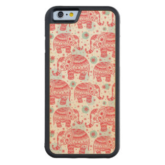 Red Ethnic Elephant Pattern Carved Maple iPhone 6 Bumper Case
