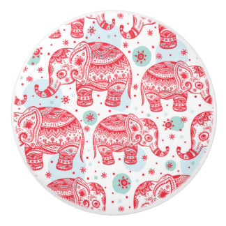 Red Ethnic Elephant Pattern Ceramic Knob