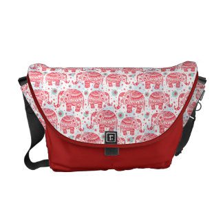 Red Ethnic Elephant Pattern Courier Bag
