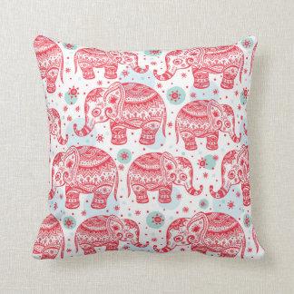Red Ethnic Elephant Pattern Cushion
