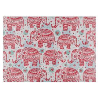Red Ethnic Elephant Pattern Cutting Board