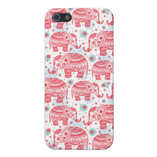 Red Ethnic Elephant Pattern iPhone 5/5S Covers