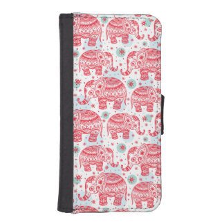 Red Ethnic Elephant Pattern iPhone SE/5/5s Wallet Case