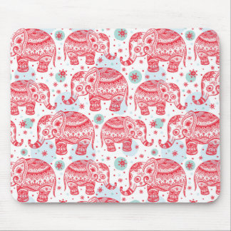Red Ethnic Elephant Pattern Mouse Mat