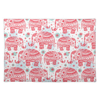 Red Ethnic Elephant Pattern Placemat