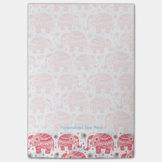 Red Ethnic Elephant Pattern Post-it Notes
