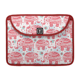 Red Ethnic Elephant Pattern Sleeve For MacBook Pro