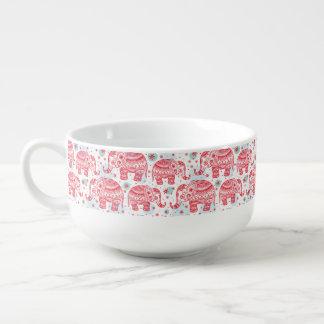 Red Ethnic Elephant Pattern Soup Mug