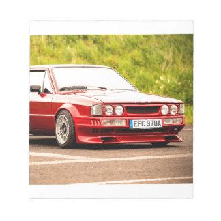 Red European Sports Car Notepads